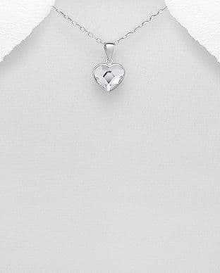 925 Sterling Silver Heart Pendant and Chain, Set with An Authentic Swarovski Crystal Stone